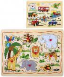 WOODY DŘEVO Baby puzzle vkládací na desce s úchyty 8 dílků různé druhy