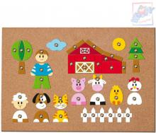 WOODY DŘEVO Hra s kladívkem Zvířátka natloukací tvary na korkové desce