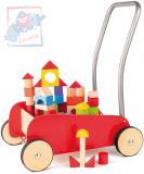 WOODY Vozík kovový sada s dřevěnými kostkami 34ks chodítko pro děti