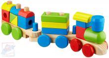 WOODY DŘEVO Baby vláček navlékací tvary 18ks mašinka + 2 vagonky
