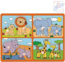 WOODY DŘEVO Baby puzzle s úchyty mláďata 4x2 dílky na desce pro miminko