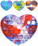Hra Pop It antistresová Bubble Pops silikon srdce vícebarevný *SPOLEČENSKÉ HRY*