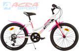 "ACRA Kolo sportovní dětské 20"" Dino Bikes Junior bílo-růžové"