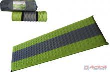 ACRA Karimatka samonafukovací zelená šedý pruh 195 x 60 x 7 cm