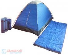 ACRA Campingový stan BROTHER pro dvě osoby set se spacím pytlem a karimatkou 2ks