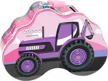 Pokladnička dětská kovová traktor 14cm na zámek různé barvy v sáčku