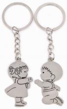 Přívěsek kovový holčička a chlapeček na klíče Valentýn set 2ks v sáčku