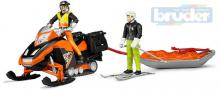 BRUDER 63100 Model sněžný skútr set se sáněmi 33cm a 2 figurkami plast