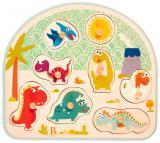 B-TOYS DŘEVO Baby puzzle dinosauři vkládací na desce 8 dílků *DŘEVĚNÉ HRAČKY*