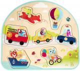 B-TOYS DŘEVO Baby puzzle dopravní prostředky vkládací na desce 7 dílků