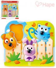 HAPE DŘEVO Baby puzzle vkládací s úchyty domácí zvířátka 3 dílky na desce