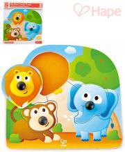 HAPE DŘEVO Baby puzzle vkládací s úchyty zvířátka džungle 3 dílky na desce