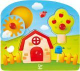 HAPE DŘEVO Baby puzzle Venkov vkládací 3 dílky s úchyty na desce