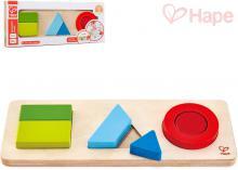 HAPE DŘEVO Baby puzzle vkládací geometrické tvary set 6 dílků oboustranné