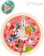 HAPE DŘEVO Puzzle kruhové povolání oboustranná skládačka v rámečku