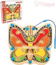HAPE DŘEVO Baby labyrint kuličkový motýl s magnetickou hůlkou pro miminko