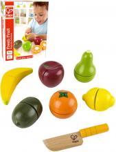 HAPE DŘEVO Ovoce čerstvé krájecí set s nožíkem makety potravin