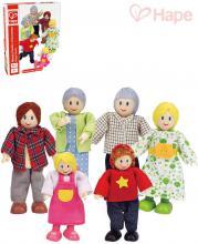 HAPE DŘEVO Herní set rodinka do domečku dřevěná figurka 5ks v krabici