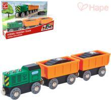 HAPE DŘEVO Vláček diesel nákladní set mašinka + 2 vagonky s nákladem