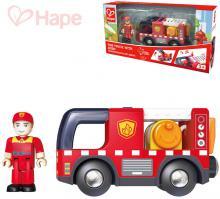 HAPE DŘEVO Auto hasiči funkční set s figurkou na baterie Světlo Zvuk