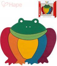 HAPE DŘEVO Baby puzzle na desce žabka duhová 7 dílků pro miminko