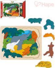 HAPE DŘEVO Puzzle 2 vrstvy na desce zvířátka asie 30 dílků *DŘEVĚNÉ HRAČKY*