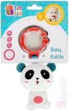 ET BAM BAM Baby chrastítko panda přívěsek s klipem pro miminko