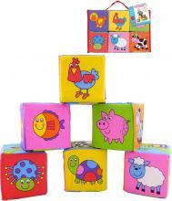 GALT Baby kostky soft pěnové se zvířátky a auty set 6ks v igelitové tašce pro miminko