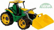 LENA Traktor plastový se lžící zeleno - žlutý 62 cm na písek