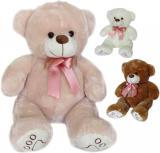 PLYŠ Medvěd Tlapka 40cm s růžovou mašlí 3 barvy PLYŠOVÉ HRAČKY