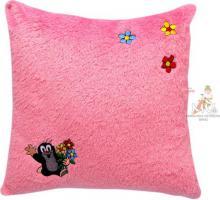 MORAVSKÁ ÚSTŘEDNA Polštář Krtek růžový s motivem kytiček Krteček *PLYŠOVÉ HRAČKY*