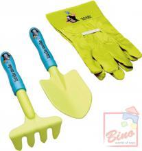 BINO KRTEK Dětský set zahradní lopatka plastová s rýčkem a rukavicemi Krteček