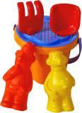 PL Pískový set kyblík se 2 nástroji a formičkami Pat a Mat se sítkem mix barev