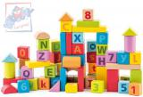 WOODY DŘEVO Pastelové baby kostky naučné s písmeny a číslicemi set 40ks