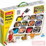 QUERCETTI Baby Smart Puzzle magnetické vkládací Farma 12 dílků oboustranné 2v1