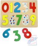 WOODY DŘEVO Puzzle vkládací číslice s beruškami na desce