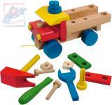 WOODY DŘEVO Auto montážní tahací dřevěné k sestavení set se 3 nástroji