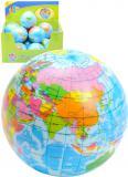 Míček měkký 7cm balonek potištěný zeměkoule mapa světa