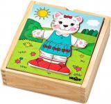 WOODY DŘEVO Baby puzzle šatní skříň kočička 18 dílků *DŘEVĚNÉ HRAČKY*