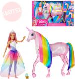 MATTEL BRB Dreamtopia set panenka Barbie + jednorožec na baterie Světlo Zvuk