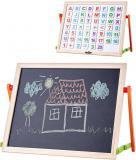 WOODY DŘEVO Tabulka magnetická stolní oboustranná set s abecedou a číslicemi