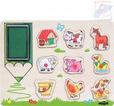 WOODY DŘEVO Razítka zvířátka puzzle vkládací s úchyty 9 dílků 2v1