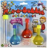 Souprava na výrobu bublifuku set 3 lahvičky s barevným roztokem na kartě