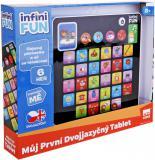 Tablet dětský dvojjazyčný naučný CZ/AJ na baterie 6 her Světlo Zvuk plast