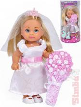 SIMBA Panenka Evička nevěsta 12cm svatební šaty set s kyticí v krabici