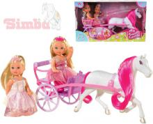 SIMBA Panenka Evička Evi Love princezna 12cm set 2 panenky s kočárem
