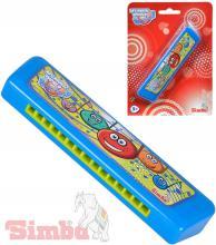 SIMBA Harmonika dětská foukací 15cm modrá na kartě *HUDEBNÍ NÁSTROJE*