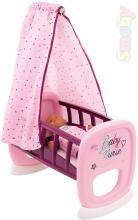 SMOBY Baby Nurse kolébka s nebesy růžovofialová 47x27x69cm pro panenku miminko