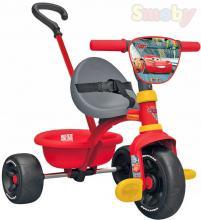 SMOBY Baby tříkolka šlapací Be Move 68x52x52cm Cars (Auta) s vodící tyčí 2v1