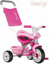 SMOBY Baby tříkolka šlapací Be Move Confort 68x52x52cm s vodící tyčí růžová 2v1